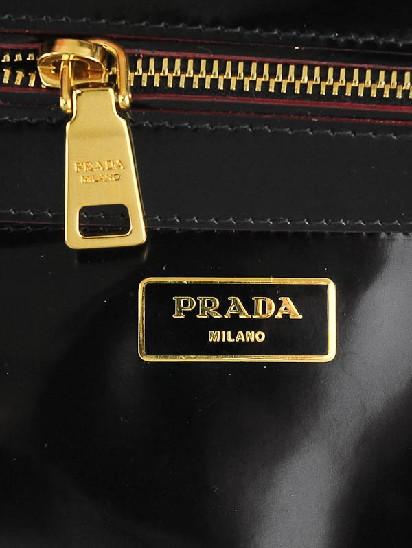 Prada Black Spazzolato Patent Leather Double Zip Top Handle Tote ...