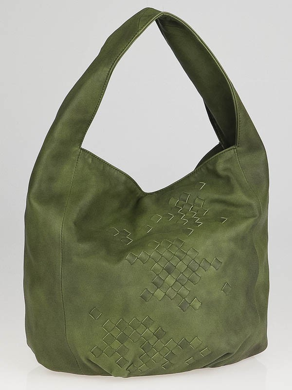 Bottega Veneta Olive Green Leather Hobo Bag - Yoogi's Closet