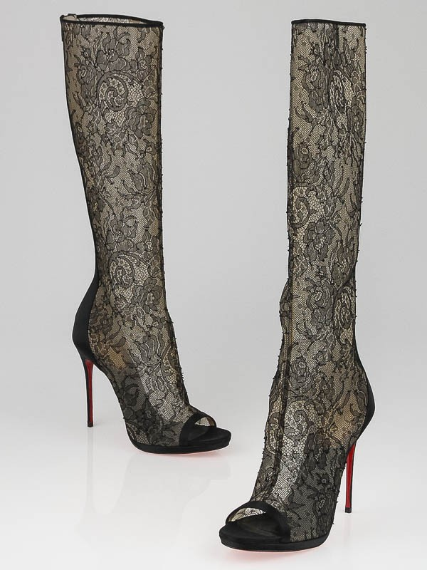 Christian Louboutin 20th Anniversary Black Crepe Satin/Lace Alta ...