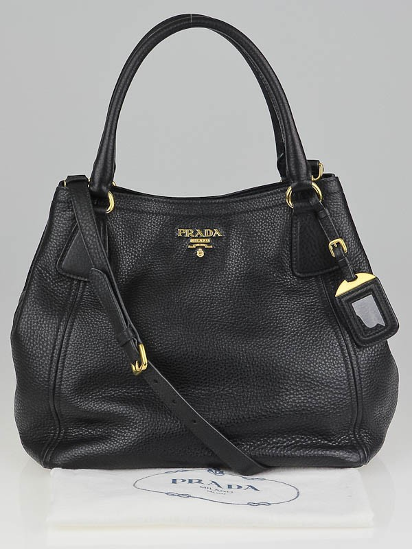 Prada Black Vitello Daino Leather Tote Bag w/Long Strap - Yoogi's ...