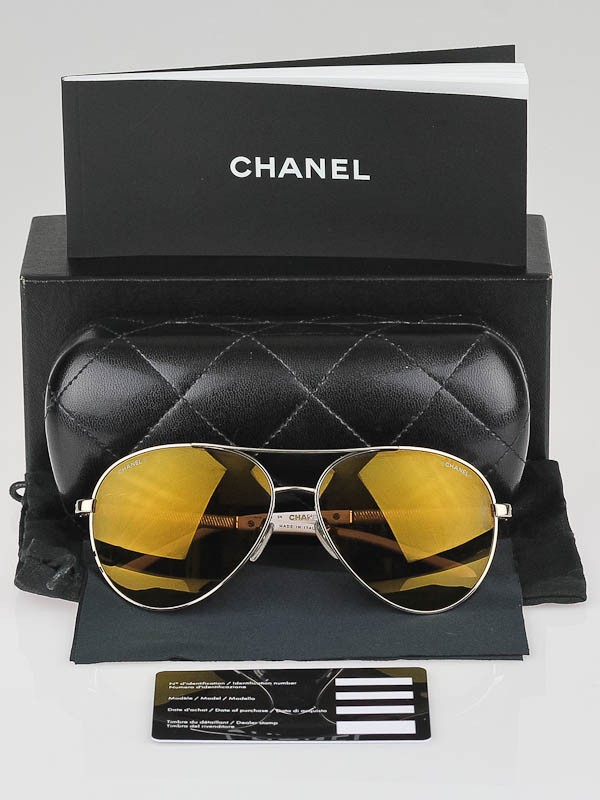 Gold Frame Chanel Sunglasses : Chanel Gold Frame Brown Tint CC Aviator Sunglasses-4185 ...