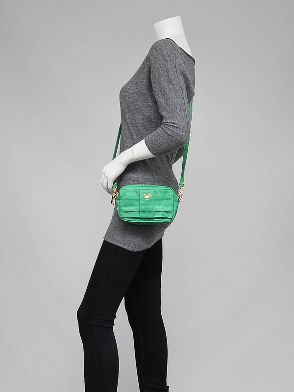 sell prada bag - Prada Green Tessuto Nylon Bow Crossbody Bag - Yoogi\u0026#39;s Closet