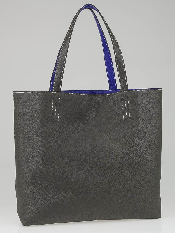 Hermes 45cm Graphite/Electric Blue Clemence Leather Large Double ...