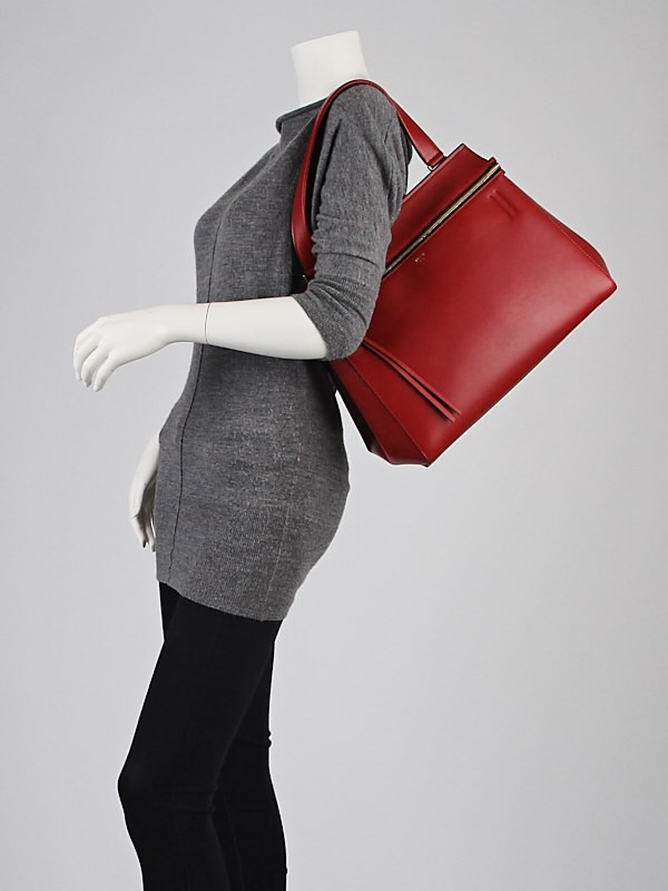 celine red shoulder luggage