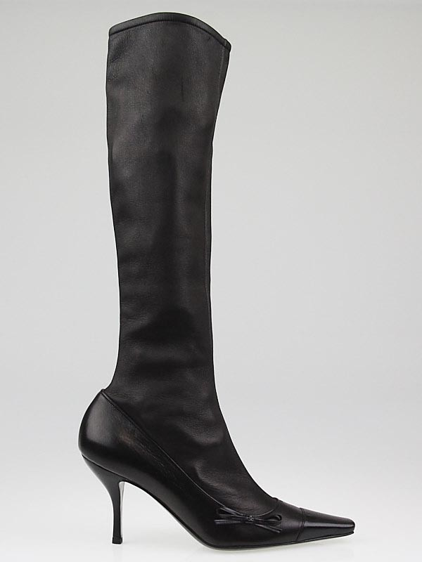 chanel black lambskin leather knee high boots 7 5 38
