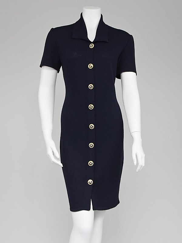St. John Navy Blue Knit Button Down Sweater Dress Size 4 - Yoogi's ...