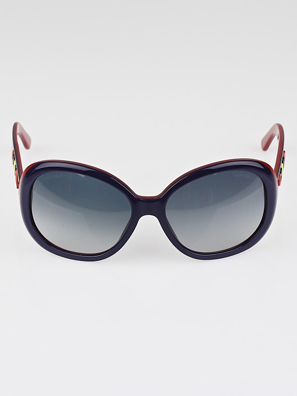 Chanel Blue Frame Glasses : Chanel Blue/Red Frame Logo Sunglasses-5138 - Yoogis Closet