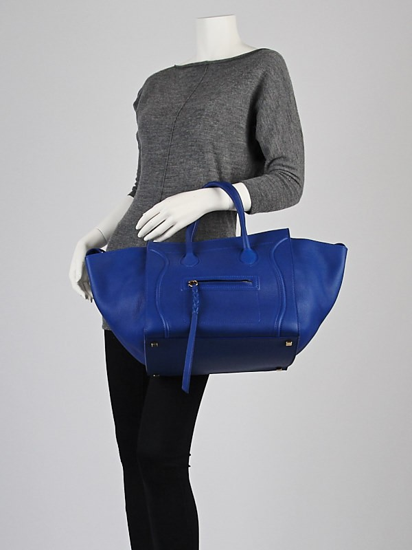 celine royal blue calfskin leather small phantom luggage tote bag ... 2037023562f16
