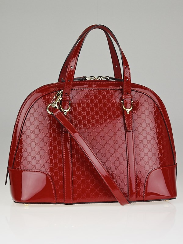 Gucci Red Microguccissima Patent Leather Nice Top Handle