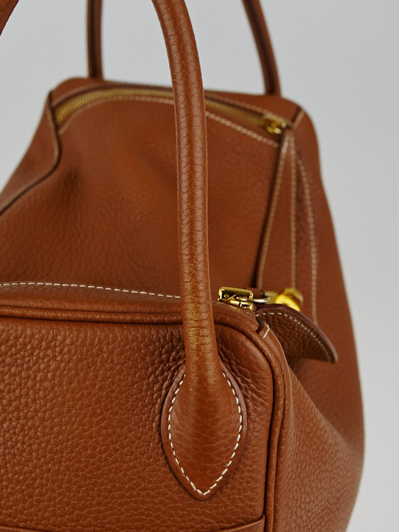 Hermes 30cm Gold Clemence Leather Lindy Bag - Yoogi\u0026#39;s Closet