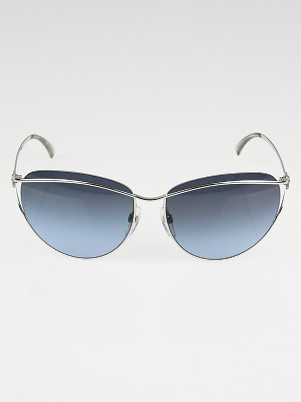 Chanel Silver Metal Frame and Blue Tint Sunglasses-4181 ...