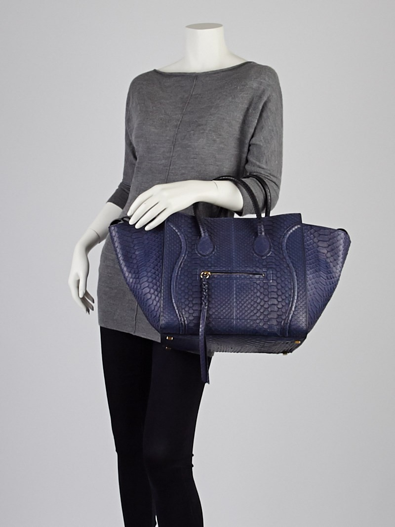 Celine Navy Blue Python Small Phantom Luggage Tote Bag - Yoogi\u0026#39;s ...