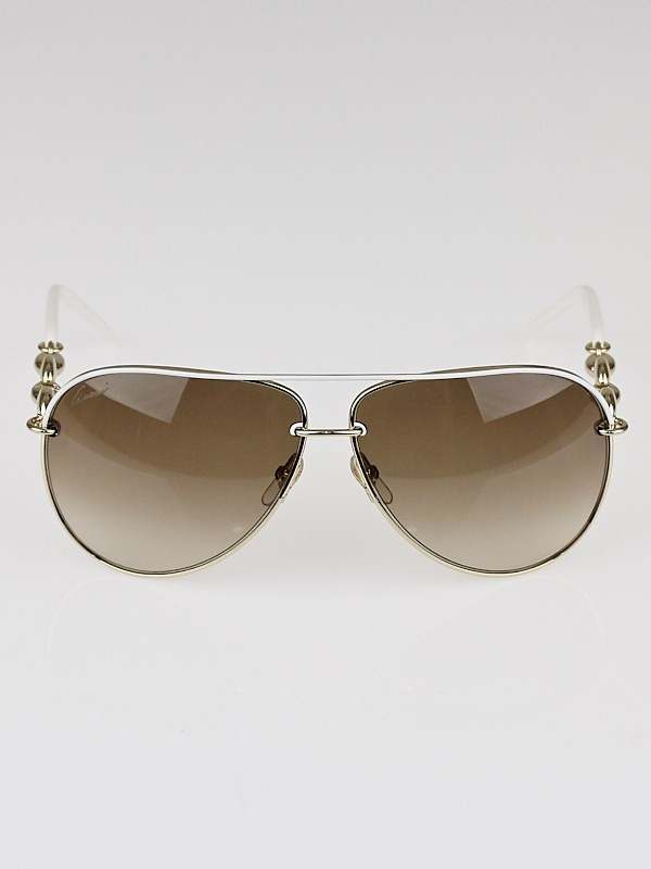 Gucci White Metal Frame Gradient Tint Aviator Sunglasses ...