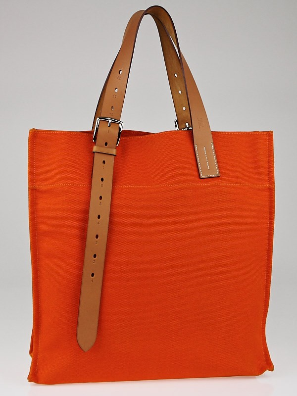 Hermes Orange Canvas and Natural Vache Hunter Leather Etriviere ...