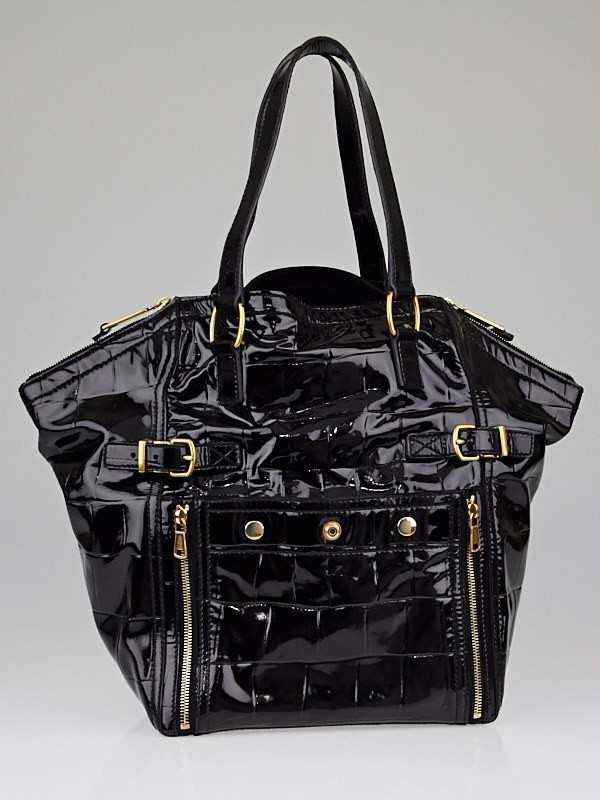 Yves Saint Laurent Black Croc-Print Embossed Patent Leather Medium ...