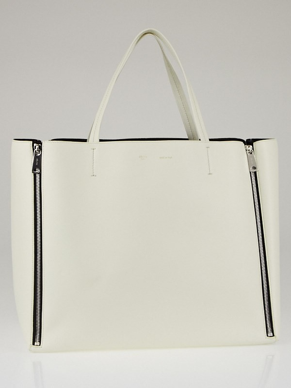 Celine White Lambskin Leather Horizontal Gusset Zip Cabas Bag ...
