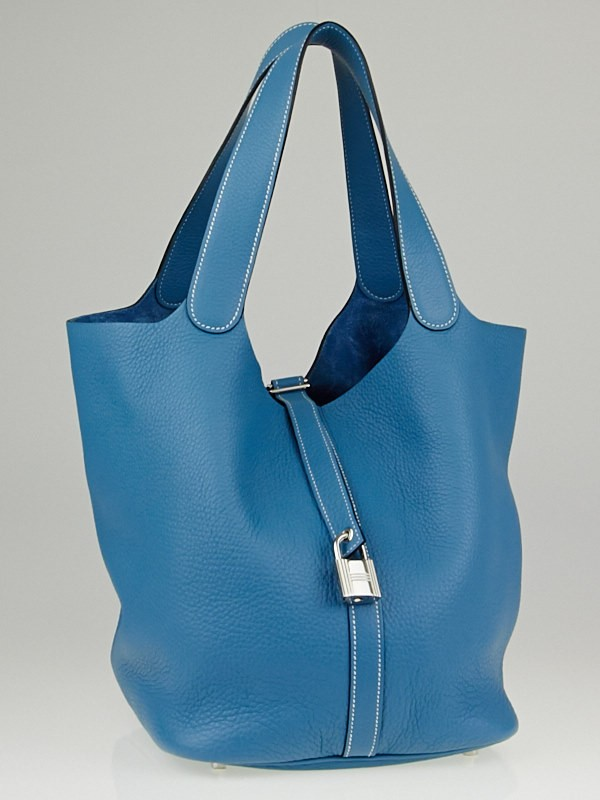 Hermes Blue Jean Clemence Leather Picotin Lock GM Bag - Yoogi\u0026#39;s Closet