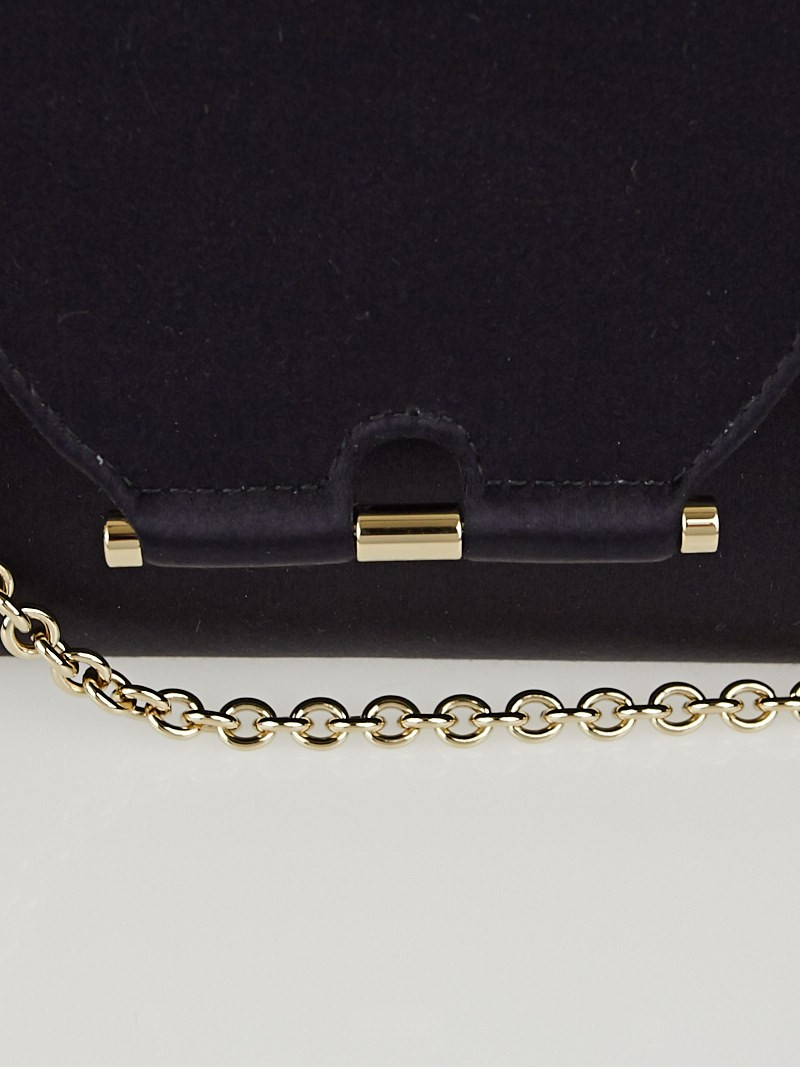 Yves Saint Laurent Black Satin Evening Chain Clutch Bag - Yoogi\u0026#39;s ...