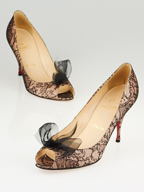 Christian Louboutin Lace Peep-Toe Pumps