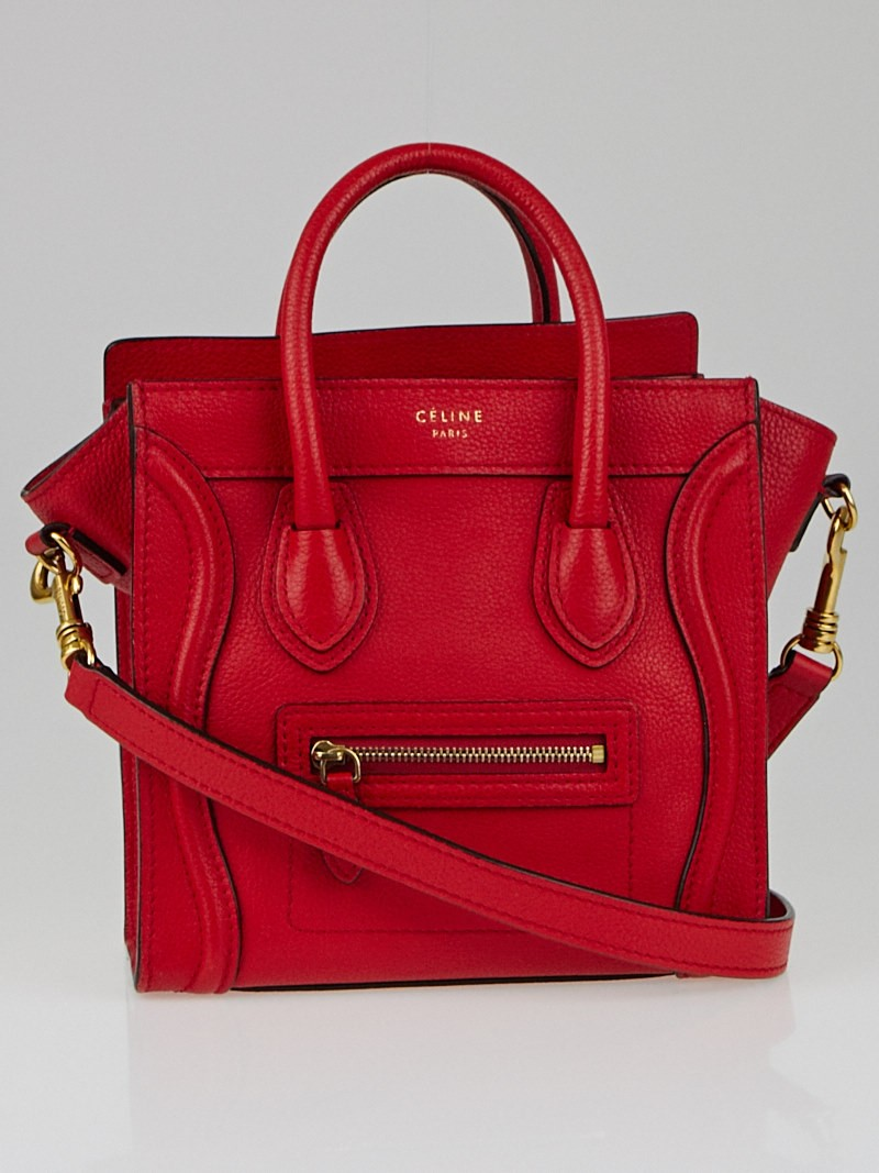 Celine Coquelicot Red Drummed Leather Nano Luggage Tote Bag ...