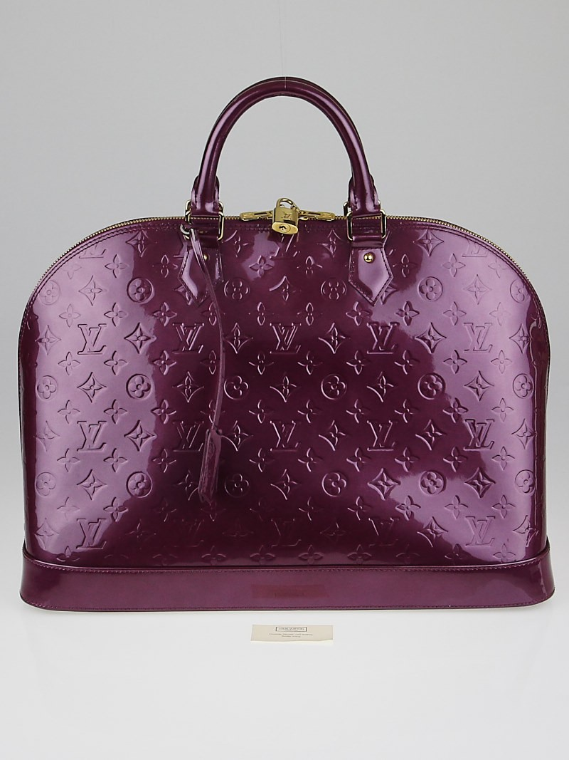 Louis vuitton violette monogram vernis alma gm bag yoogi for Louis vuitton miroir alma bag price
