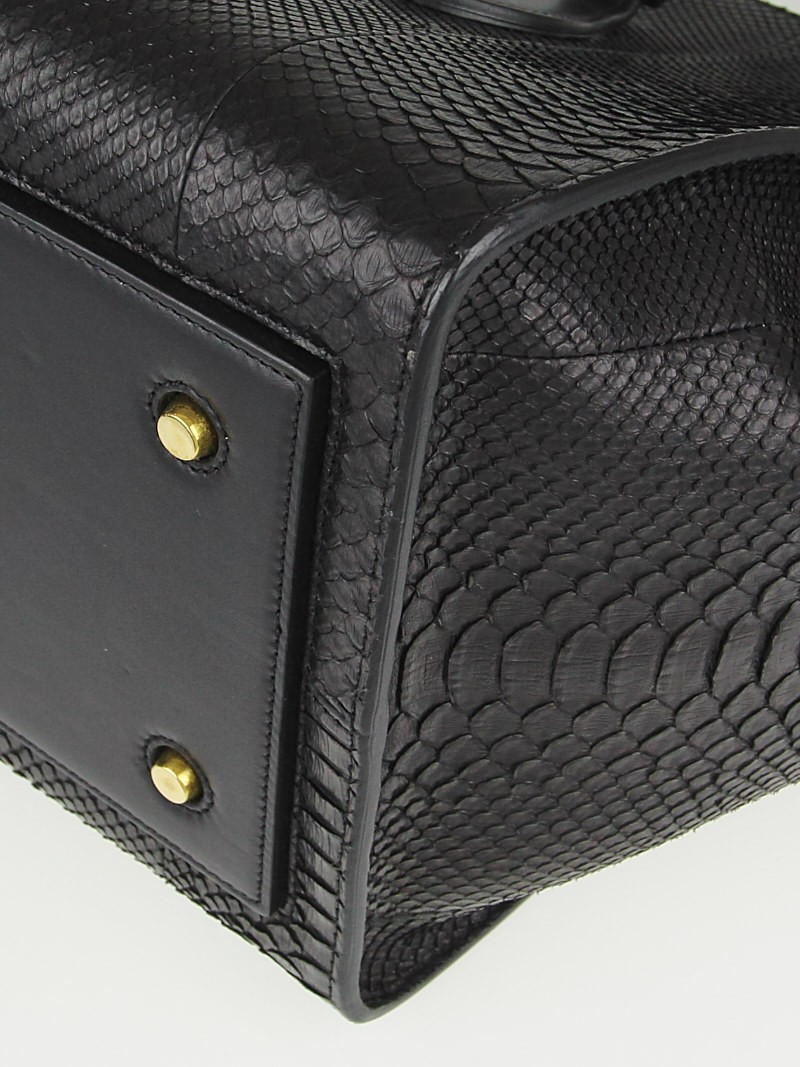 Celine Black Python Medium Tie Tote Bag - Yoogi\u0026#39;s Closet