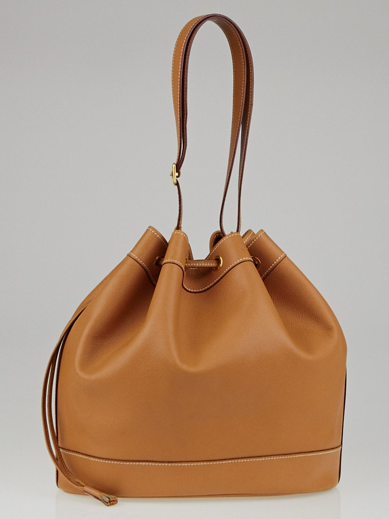 Hermes 28cm Gold Courchevel Leather Market Bag - Yoogi\u0026#39;s Closet