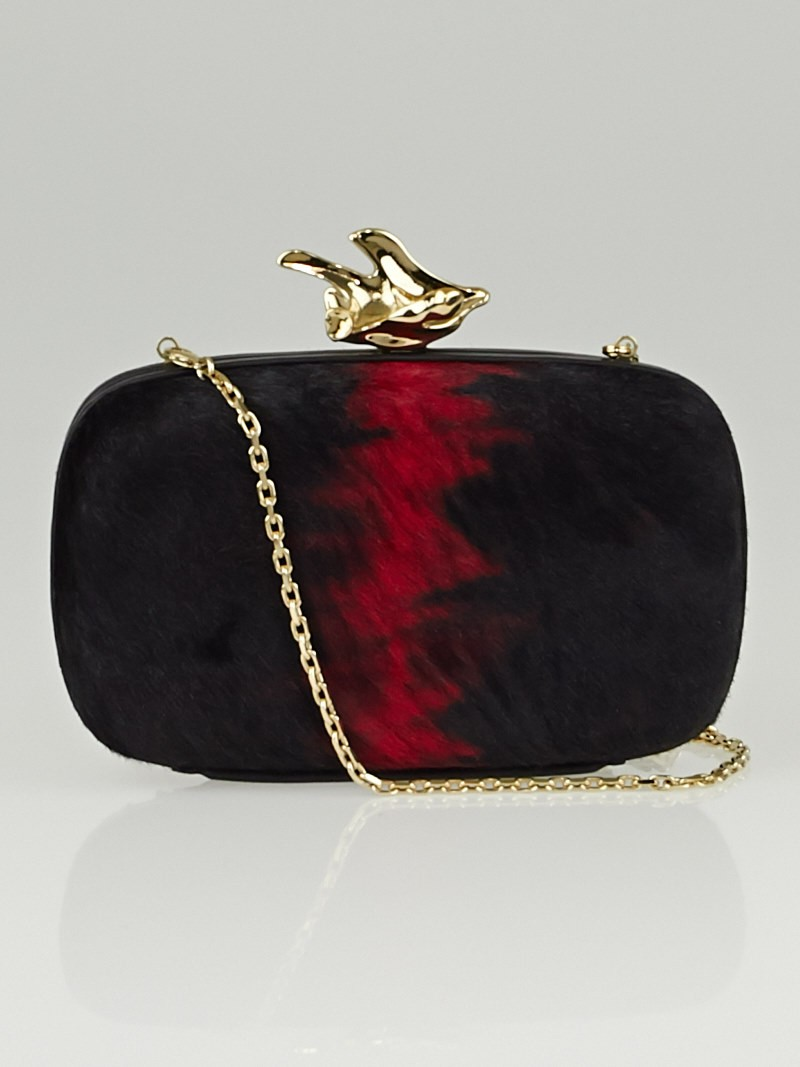 Givenchy Black/Red Pony Hair Abstract Flower Minaudiere Clutch Bag - Yoogiu0026#39;s Closet