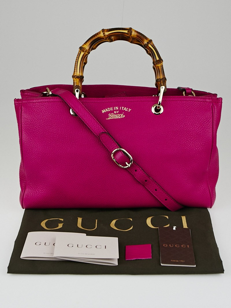 Gucci Fuchsia Leather Medium Bamboo Shopping Leather Tote ...