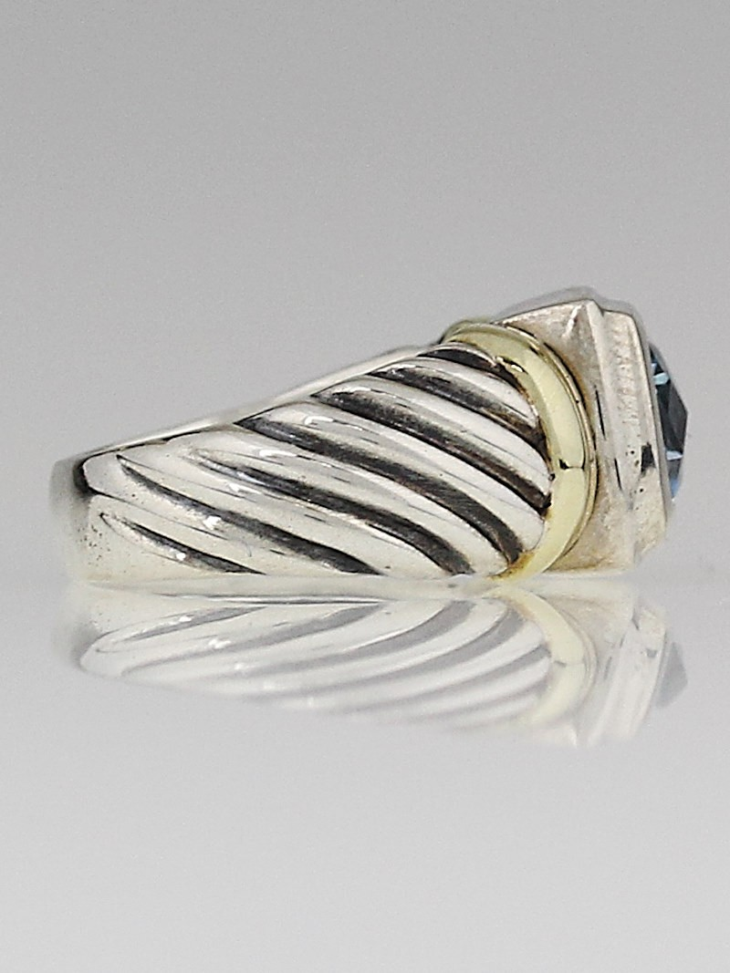 david yurman sterling silver 14k gold and blue topaz cable
