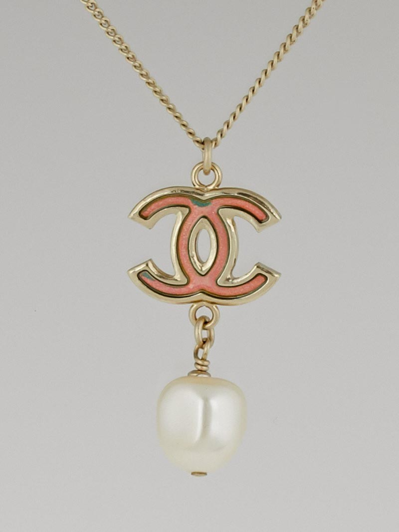 Chanel Goldtone Chain Holographic Cc And Pearl Pendant Necklace