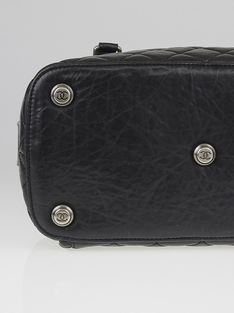 chanel black quilted distressed lambskin leather small shoe luggage tote bag paris new york pny. Black Bedroom Furniture Sets. Home Design Ideas