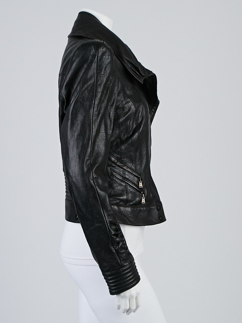 Louis Vuitton Black Lambskin Leather Motorcycle Jacket ...