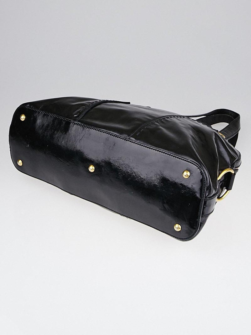 Yves Saint Laurent Black Patent Leather Large Muse Bag - Yoogi\u0026#39;s ...