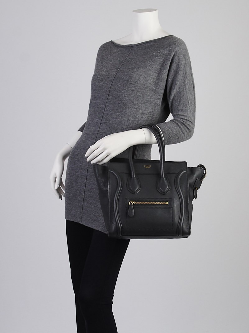Celine Anthracite Grained Leather Micro Luggage Tote Bag - Yoogi\u0026#39;s ...