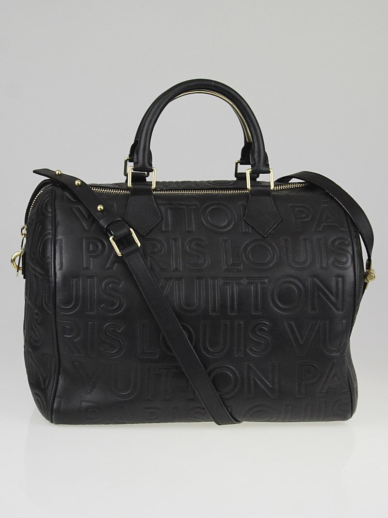 louis vuitton limited edition black monogram paris embossed leather speedy cube 30 bag yoogi 39 s. Black Bedroom Furniture Sets. Home Design Ideas