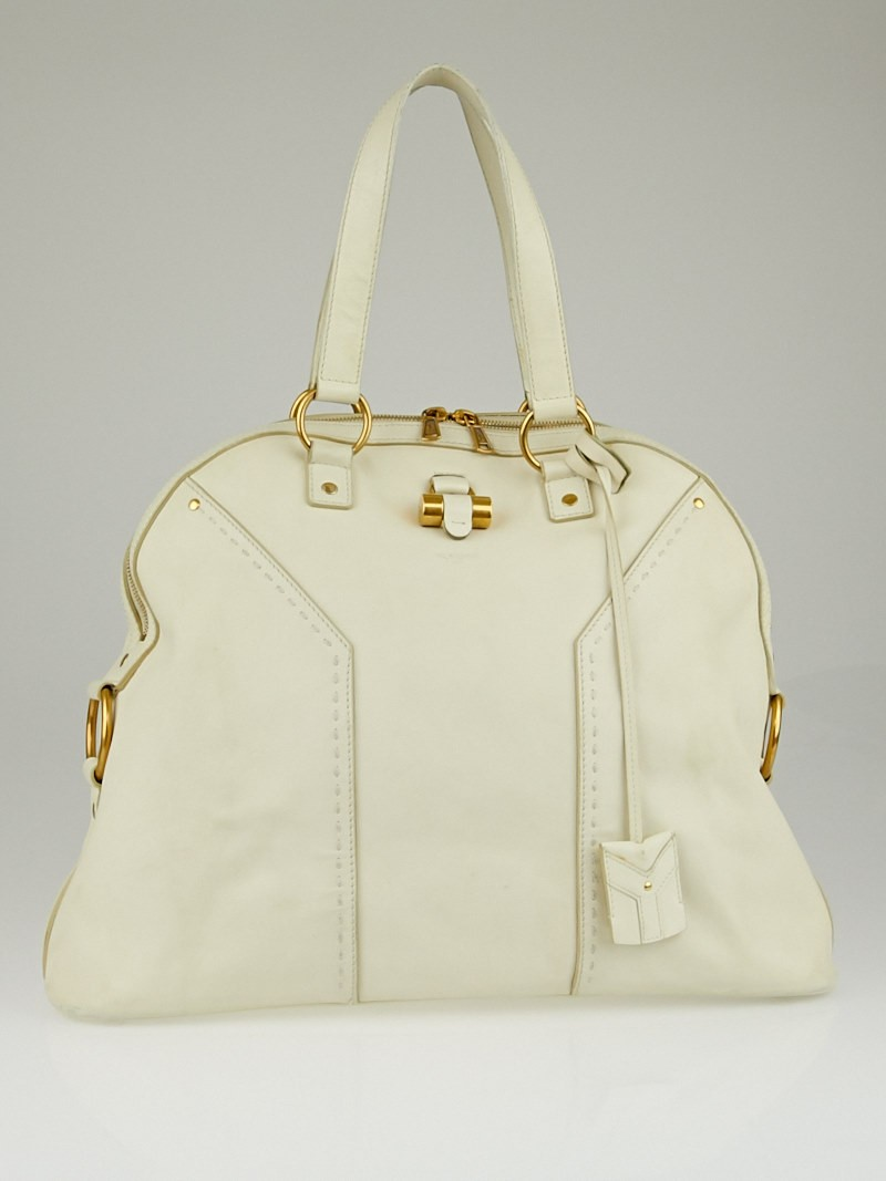 Yves Saint Laurent White Calfskin Leather Oversized Muse Bag ...