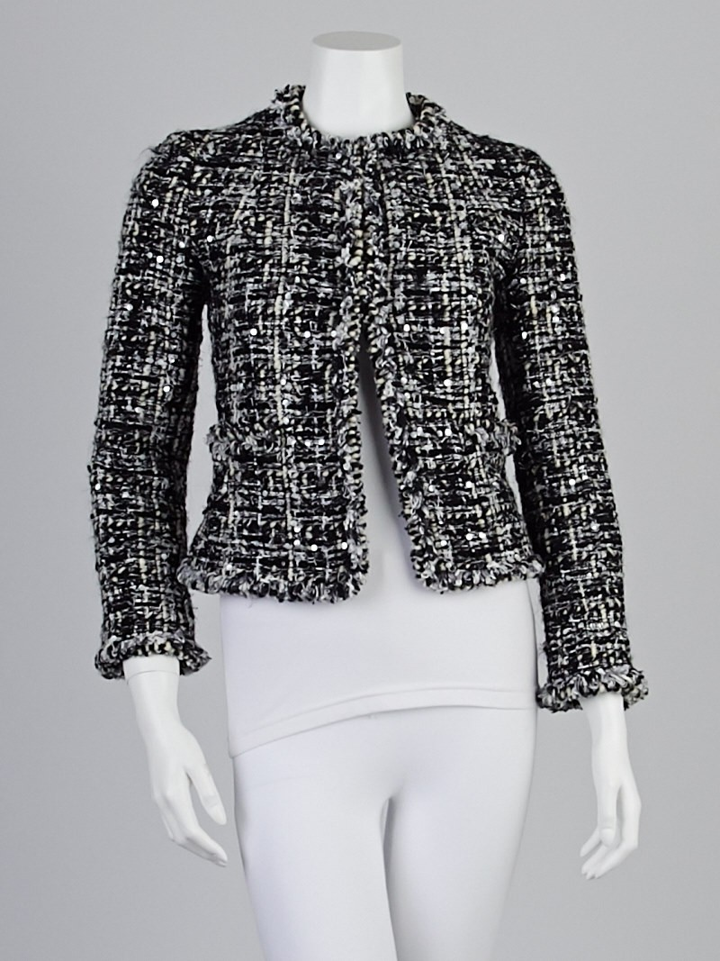 Chanel Black White Mohair Blend Tweed Jacket Size 2 34