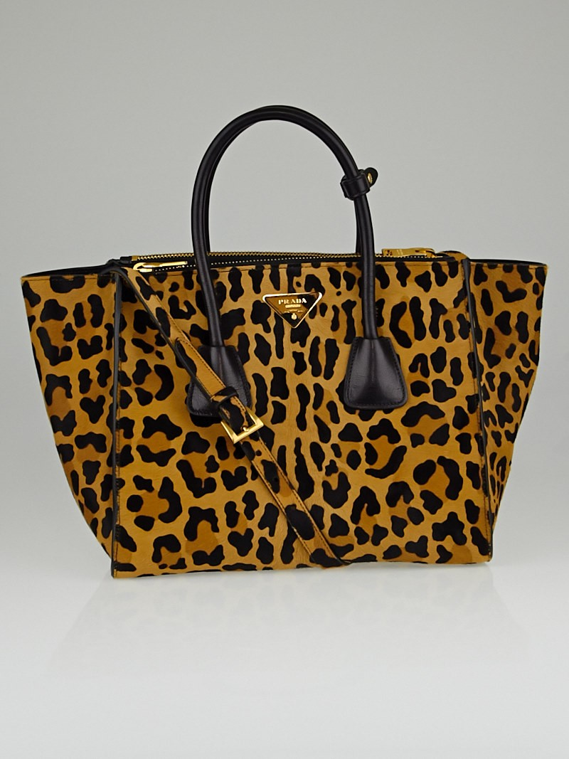 prada leopard print pony hair pocket handle