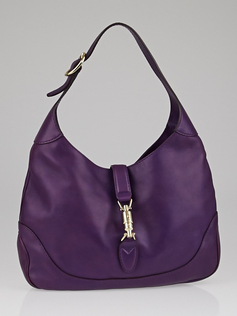 Gucci Purple Leather Jackie Medium Shoulder Bag - Yoogi's Closet
