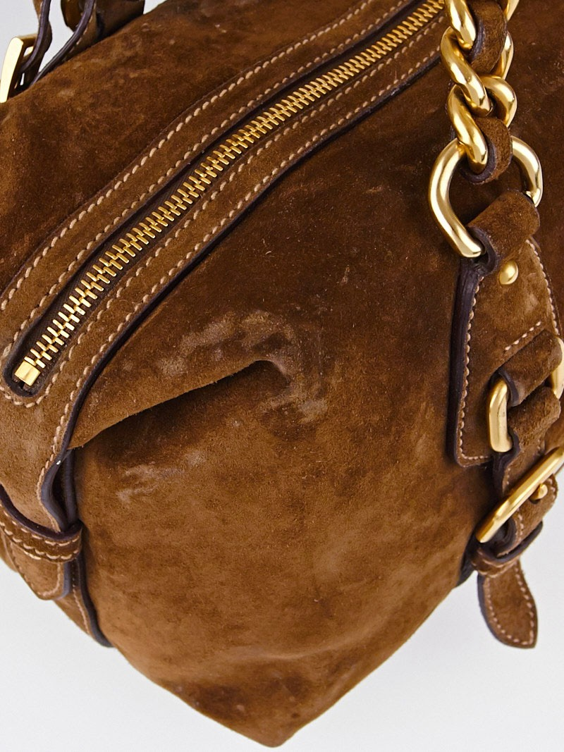 Prada Brown Suede Chain Satchel Bag BR3668 - Yoogi\u0026#39;s Closet