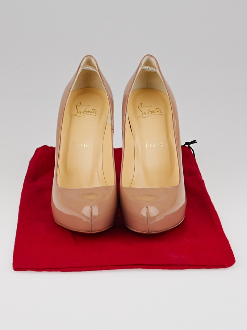 Christian Louboutin Nude Patent Leather Rolando 120 Pumps Size 8 ...