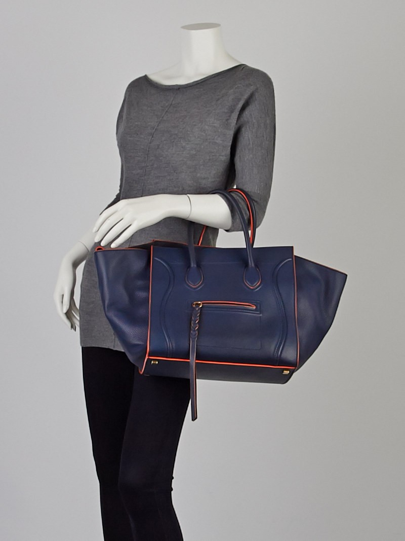 Celine Navy Blue Orange Trim Smooth Calfskin Leather Small Phantom ...