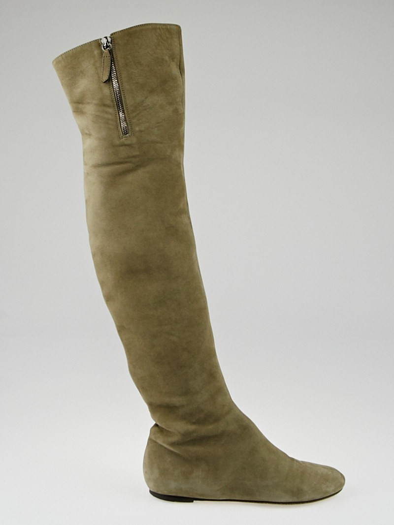 valentino taupe suede the knee flat boots size 6 5 37