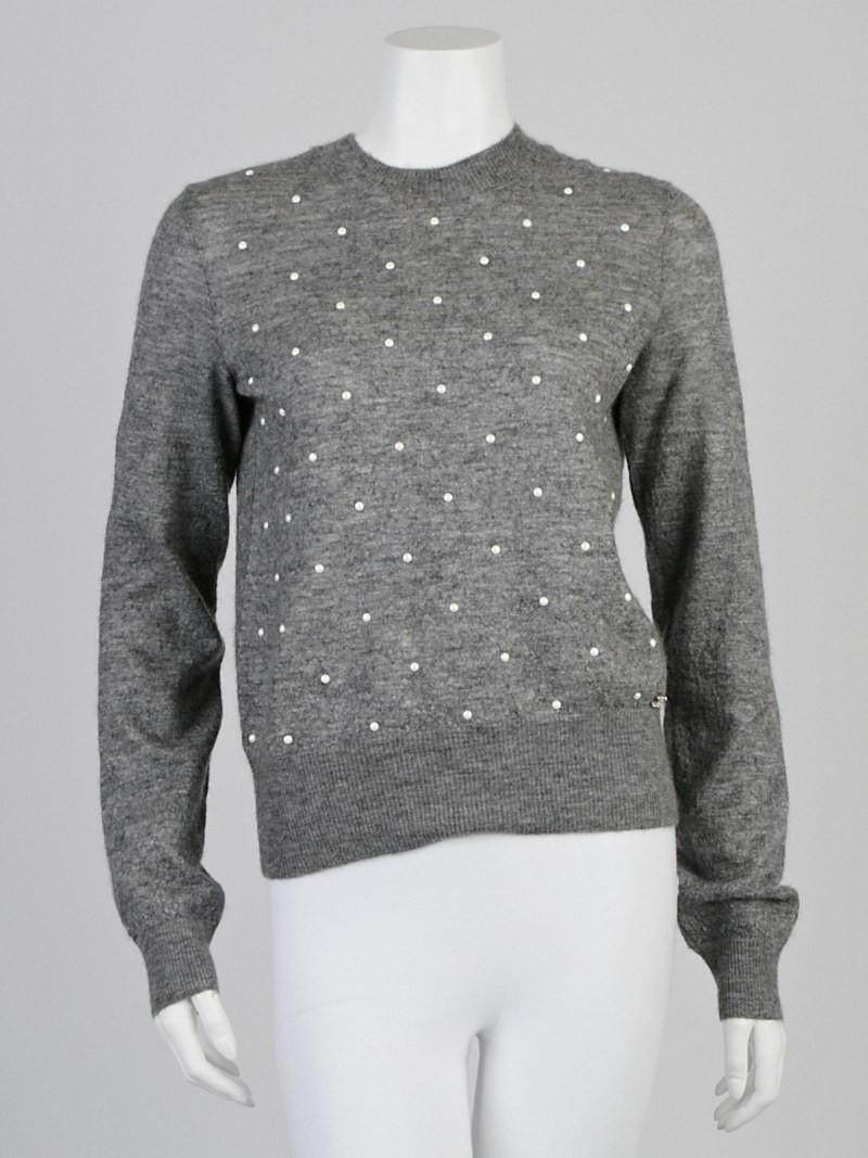 Cheap Rolex For Sale >> Chanel Grey Mohair/Cashmere Pearl Dot Pullover Sweater ...