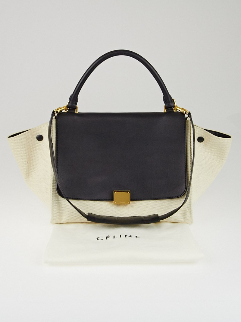 afe4b9f7c Celine Natural Canvas and Black Smooth Calfskin Leather Small Trapeze Bag -  Yoogi'