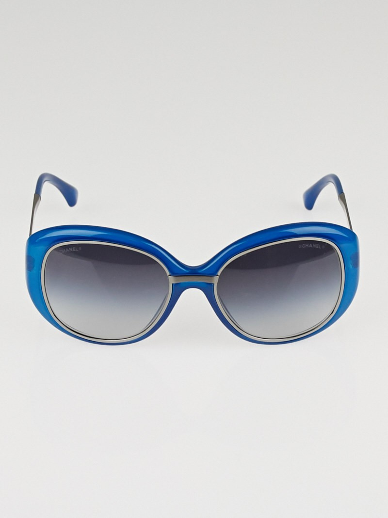 Chanel Blue Frame Glasses : Chanel Blue Oversize Plastic Frame Logo Sunglasses-6045 ...