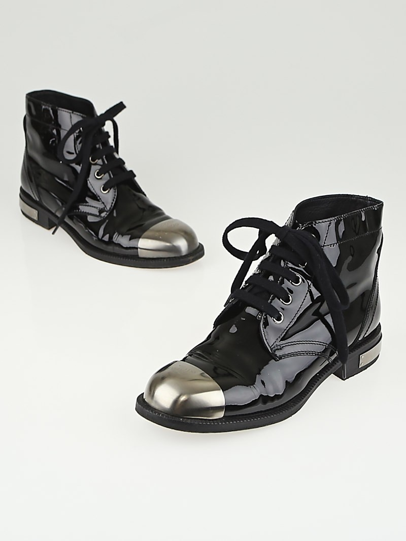 Chanel Black Patent Leather Steel Toe Lace Up Ankle Boots Size 7 ...