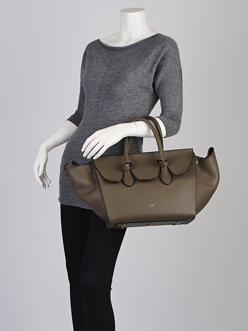 Celine Dark Khaki Crisped Calfskin Leather Small Tie Tote Bag ...