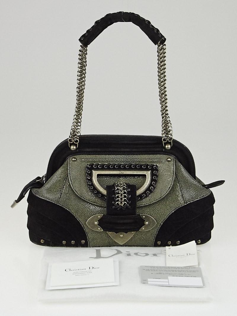 Christian Dior Limited Edition Black Suede And Grey